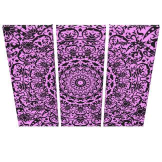 Vintage Floral Damask Purple Black Stylish Canvas Print