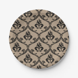 Vintage Floral Damask Tan And Black 7 Inch Paper Plate
