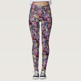 Vintage Floral (dark pink) Leggings