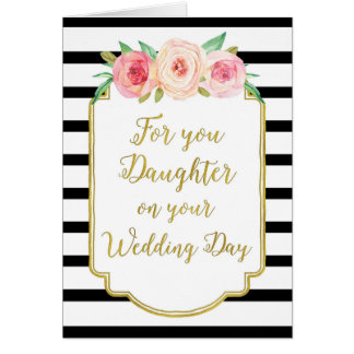 Vintage Floral Daughter Wedding Congratulations Greeting Card