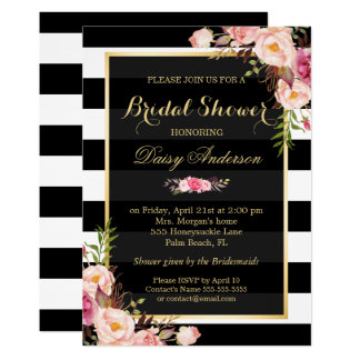 Vintage Floral Decor for Wedding Bridal Shower 13 Cm X 18 Cm Invitation Card