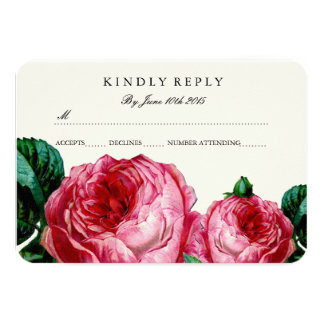 VINTAGE FLORAL DECOUPAGE RSVP CARDS 9 CM X 13 CM INVITATION CARD