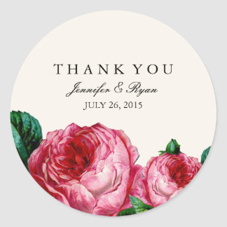 VINTAGE FLORAL DECOUPAGE THANK YOU STICKERS