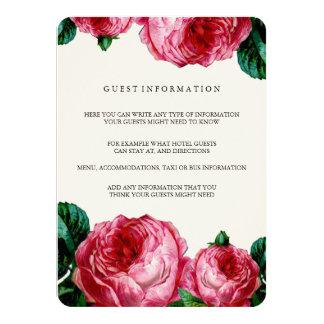 VINTAGE FLORAL DECOUPAGE WEDDING INSERT CARD 11 CM X 16 CM INVITATION CARD