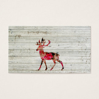 Vintage Floral Deer Gray Retro Wood Photo Print Business Card