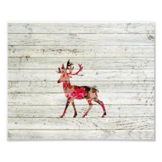 Vintage Floral Deer Grey Retro Wood Photo Print