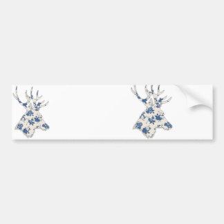 Vintage Floral Deer Head Bumper Stickers