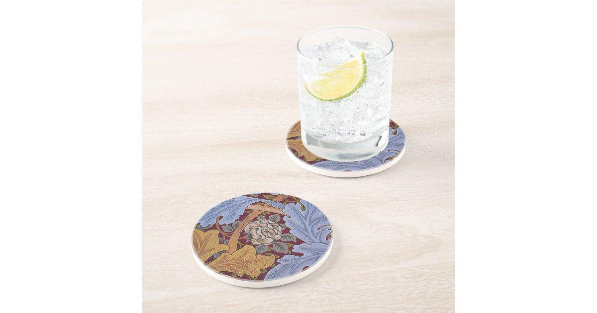 Vintage Floral Design Acanthus Leaves Drink Coasters Zazzle
