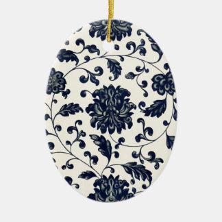 Vintage floral design ceramic oval decoration