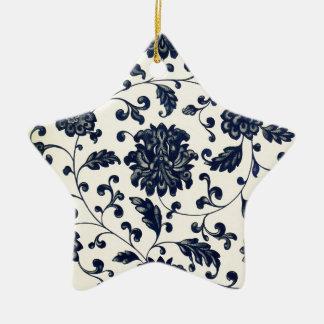 Vintage floral design ceramic star decoration