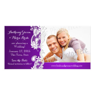 Vintage Floral Design Purple Save the Date Photo Customised Photo Card