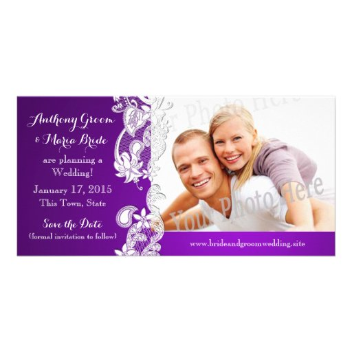 Vintage Floral Design Purple Save the Date Photo Photo Card Template