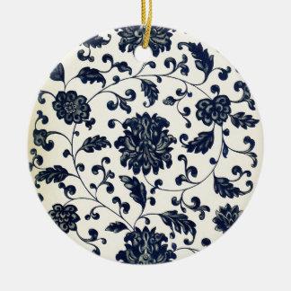 Vintage floral design round ceramic decoration