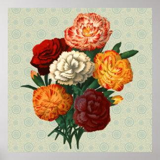 Vintage Floral Display on mint floral pattern Print