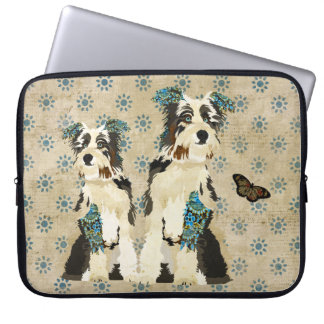 Vintage Floral Dogs Computer Sleeve