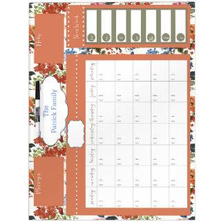 Vintage Floral Dry Erase Family Calendar Dry Erase Board