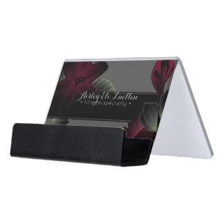 vintage floral elegance desk business card holder