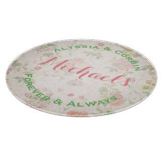 Vintage Floral Elegant Wedding Gift Round Glass Cutting Board
