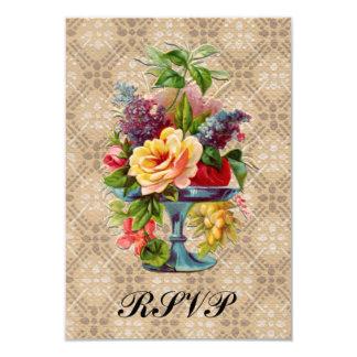 Vintage floral Embossed effect Rsvp wedding slips 9 Cm X 13 Cm Invitation Card