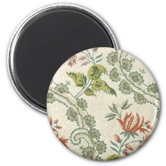 Vintage Floral Fabric (147) 6 Cm Round Magnet