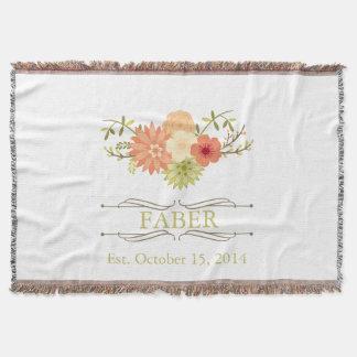 Vintage Floral Family Name Keepsake Throw Blanket