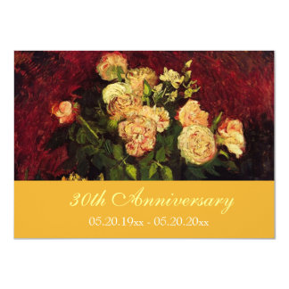 Vintage floral fine art anniversary invitations. 11 cm x 16 cm invitation card