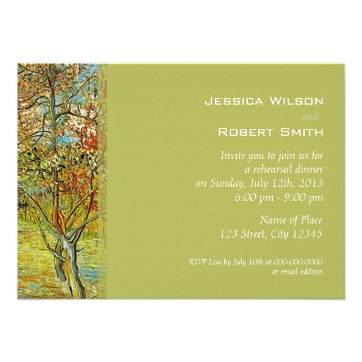 Vintage floral fine art rehearsal dinner personalized invitations