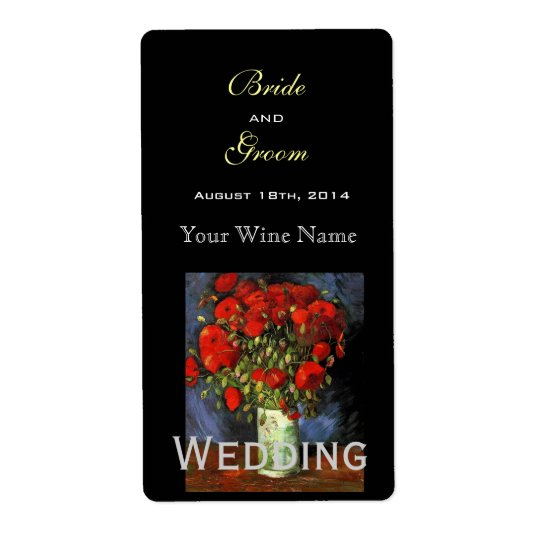 Vintage floral  fine art wedding wine label
