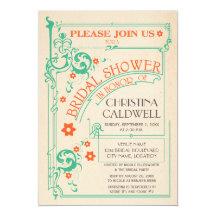 Vintage Floral Flourish Mint Orange Bridal Shower 13 Cm X 18 Cm Invitation Card