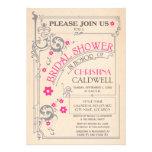Vintage Floral Flourish Pink Grey Bridal Shower Personalized Announcement