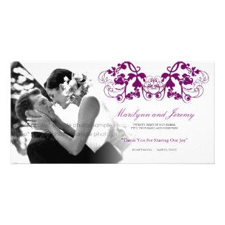 Vintage Floral Flourish Purple Wedding Thank You Personalized Photo Card