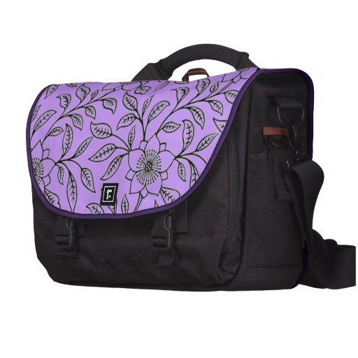 Vintage Floral Flowers Purple Laptop Commuter Bag