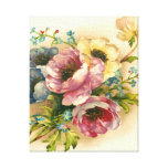 vintage floral,flowers stretched canvas prints