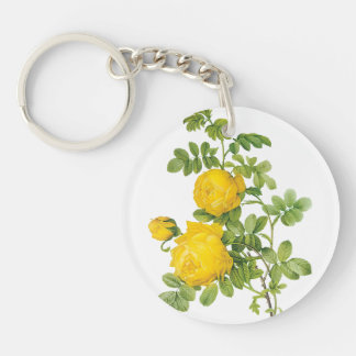 Vintage Floral Flowers, Yellow Roses by Redoute Key Ring