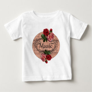 Vintage Floral For love of Music Baby T-Shirt