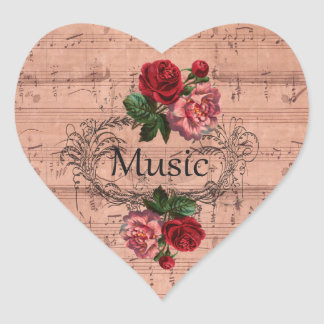 Vintage Floral For love of Music Heart Sticker