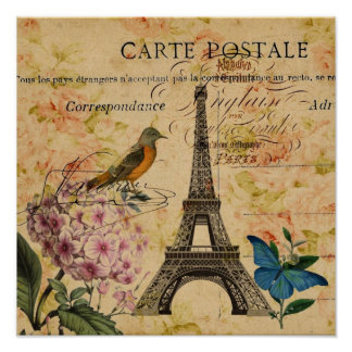 Vintage floral French Bird Paris Eiffel Tower Poster