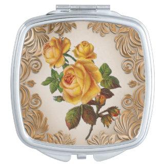 Vintage Floral fun compact miror Mirror For Makeup