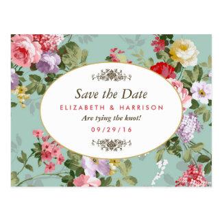 Vintage Floral Garden Botanical Save The Date Postcard