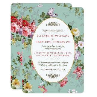 Vintage Floral Garden Botanical Wedding Card