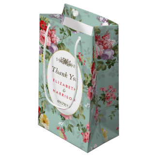 Vintage Floral Garden Botanical Wedding Favor Small Gift Bag