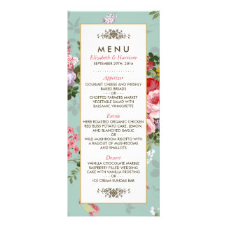 Vintage Floral Garden Botanical Wedding Menu