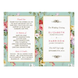 Vintage Floral Garden Botanical Wedding Program 21.5 Cm X 28 Cm Flyer