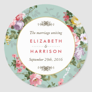 Vintage Floral Garden Botanical Wedding Round Sticker