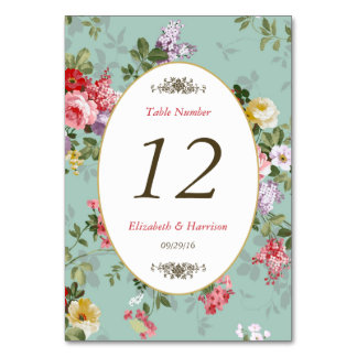 Vintage Floral Garden Botanical Wedding Table No. Table Cards