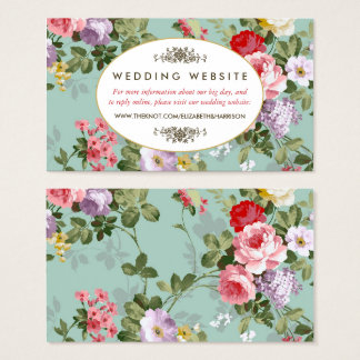 Vintage Floral Garden Botanical Wedding Website Business Card