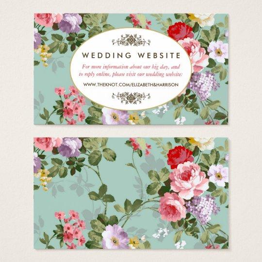 Vintage Floral Garden Botanical Wedding Website Business Card
