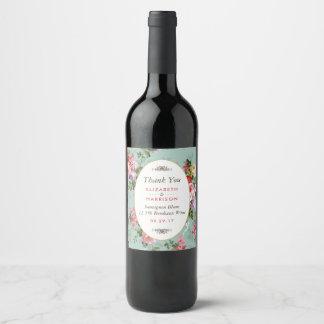 Vintage Floral Garden Botanical Wedding Wine Label