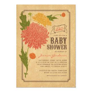 Vintage Floral Garden Party Baby Shower 13 Cm X 18 Cm Invitation Card