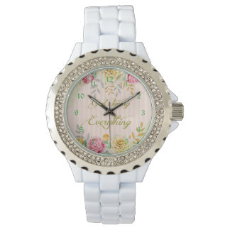 Vintage Floral God's Timing is Everything Quote Wristwatches